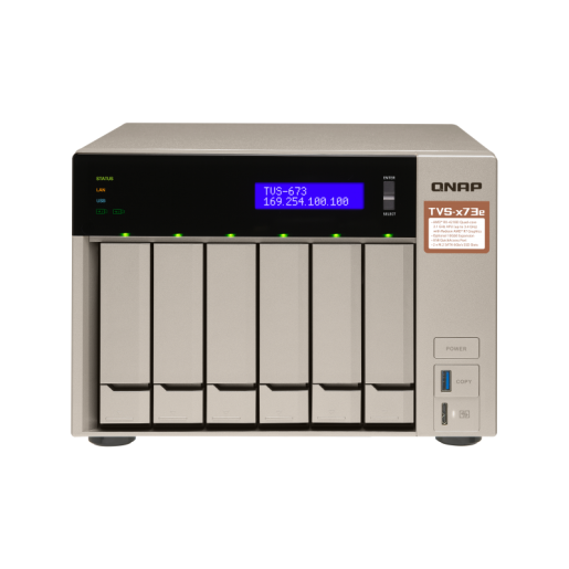 QNAP NAS Tower, TVS-673e-8G, 6-Bay NAS, AMD RX-421BD 2.1GHz, 8GB DDR4 RAM, 4x GbE LAN, Single power supply