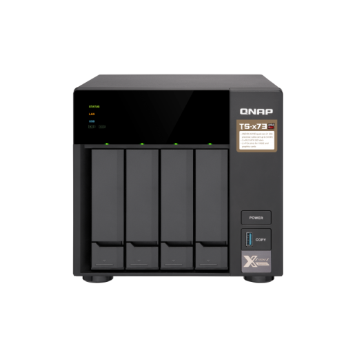 QNAP NAS Tower, TS-473-8G, 4-Bay NAS, AMD RX-421ND 2.1GHz, 8GB DDR4 RAM, 4x GbE LAN, single power supply