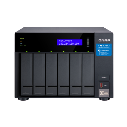 QNAP NAS Tower, TVS-672XT-i3-8G, 6-Bay NAS, Intel® Core™ i3-8100T 4-core 3.1 GHz, 8GB DDR4 RAM, 2xGbE LAN, 1 x 10GBase-T, 2 x Thunderbolt 3 port, single power supply