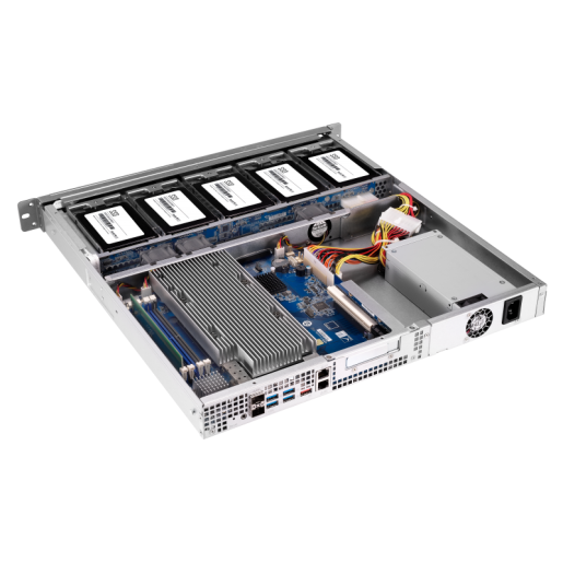QNAP NAS 1U, TS-977XU-RP-1200-4G, 9-Bay NAS, AMD Ryzen™ 3 1200 3.1 GHz, 4 GB UDIMM DDR4, 2 GigaLan, 2 x 10GbE SFP+, Redundant Power Supply