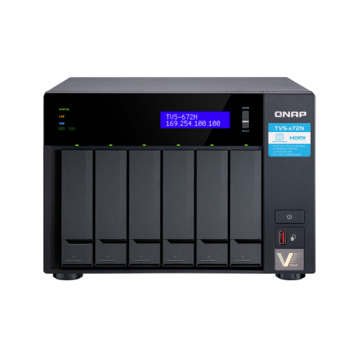 QNAP NAS Tower, TVS-672N-i3-4G, 6-Bay NAS, Intel® Core™ i3-8100T 4-core 3.1 GHz, 4GB DDR4 RAM, 2xGbE LAN, 1 x 5GBase-T, single power supply